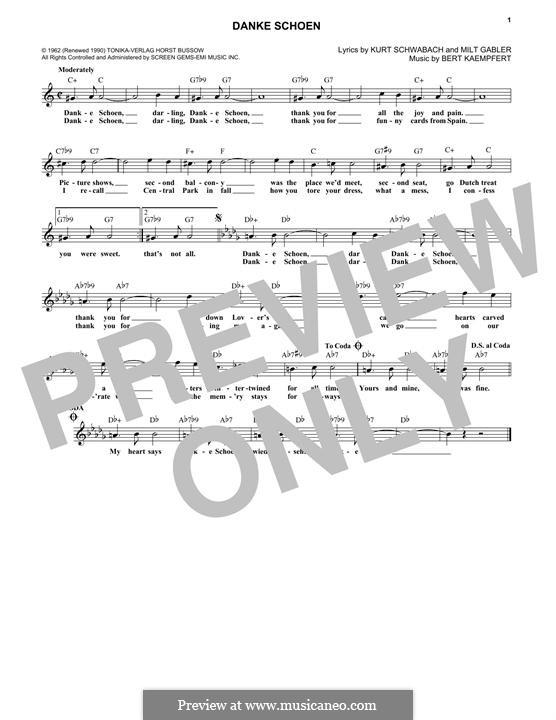 Danke Schoen (Wayne Newton): Melody line by Bert Kaempfert, Kurt Schwabach, Milt Gabler