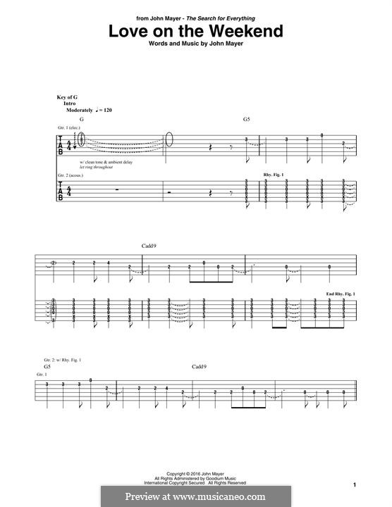 Love on the Weekend: For guitar with tab by John Mayer