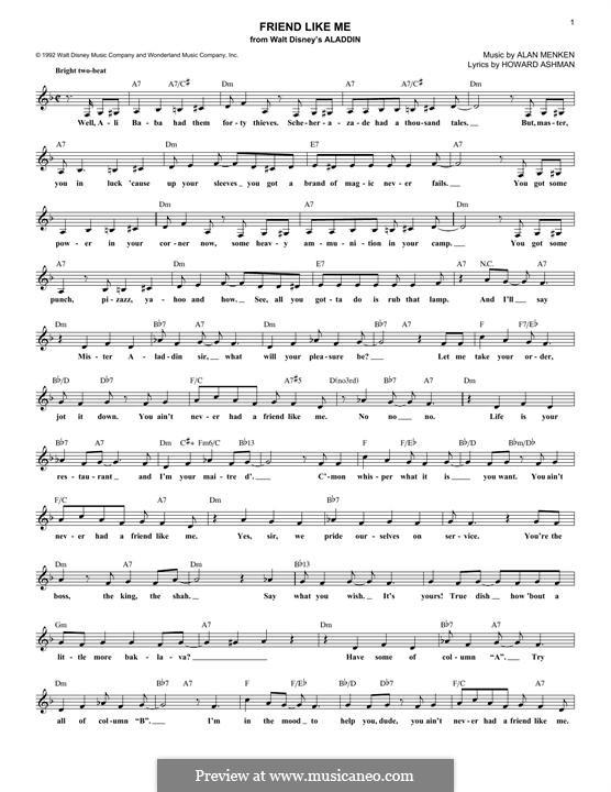Friend Like Me (from Aladdin): Melody line by Alan Menken