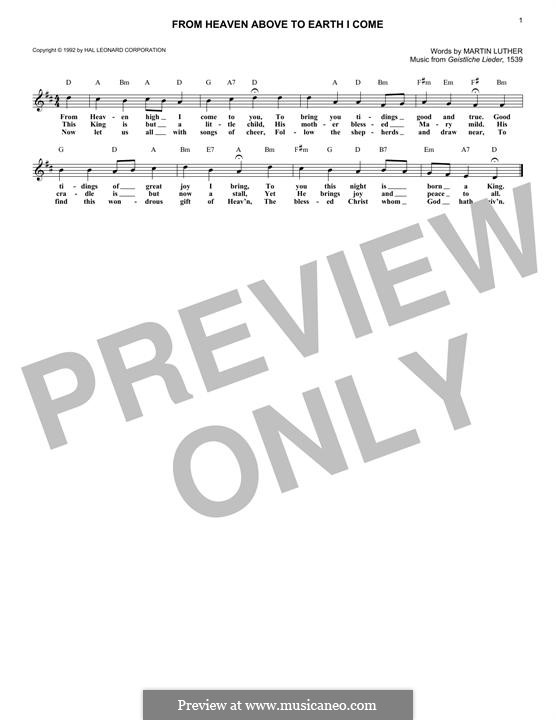 From Heaven Above to Earth I Come: Melody line by Martin Luther