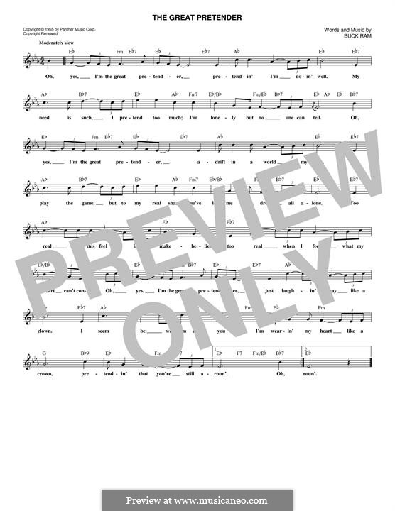 The Great Pretender (The Platters): Melody line by Buck Ram