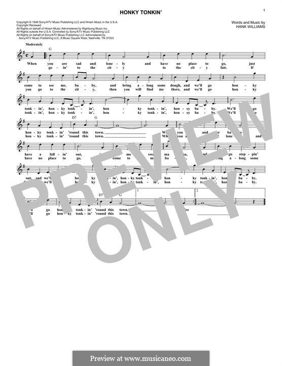 Honky Tonkin': Melody line by Hank Williams