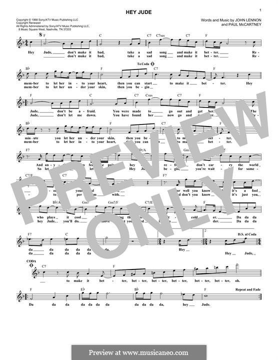 Hey Jude (The Beatles): Melody line by John Lennon, Paul McCartney