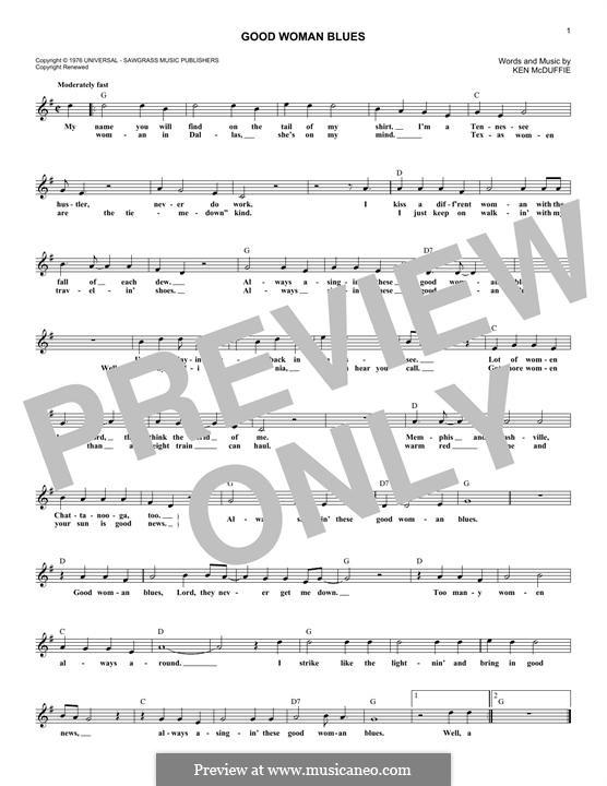Good Woman Blues (Mel Tillis): Melody line by Ken McDuffie