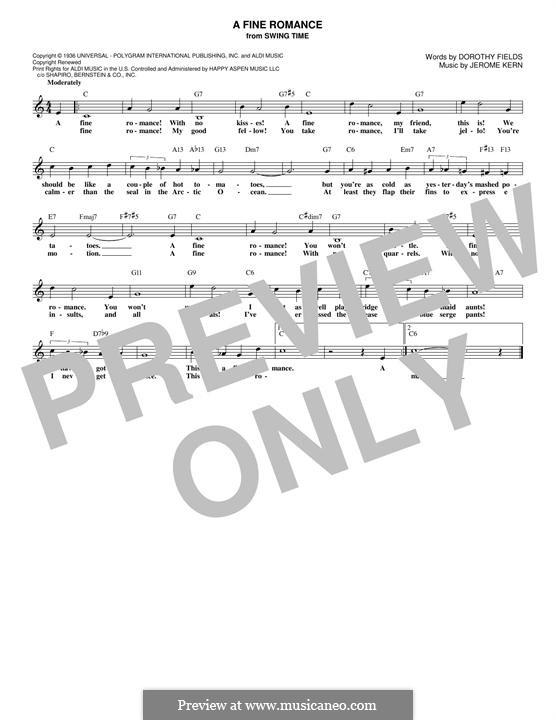 A Fine Romance: Melody line by Jerome Kern
