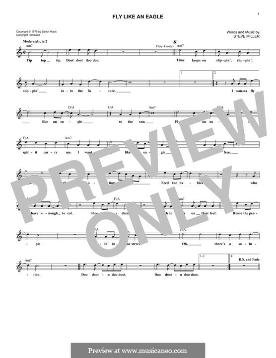 Fly Like an Eagle (Steve Miller Band): Melody line by Steve Miller