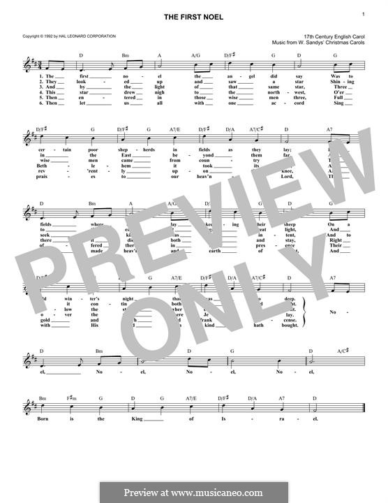 The First Nowell (The First Noël), Printable scores: Melody line by folklore
