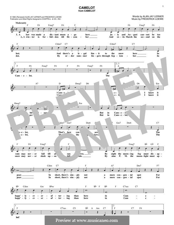 Camelot: Melody line by Frederick Loewe