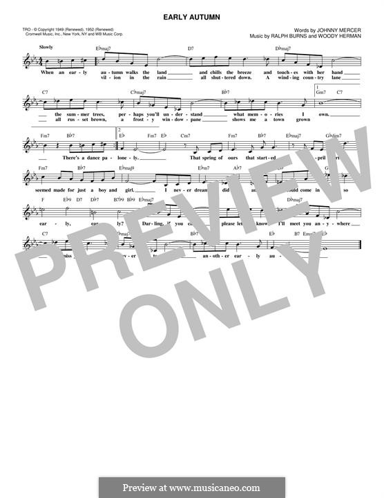 Early Autumn: Melody line by Ralph Burns, Woody Herman