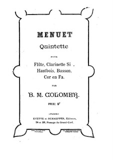 Minuet for Woodwind Quintet: Flute part by Blas María de Colomer
