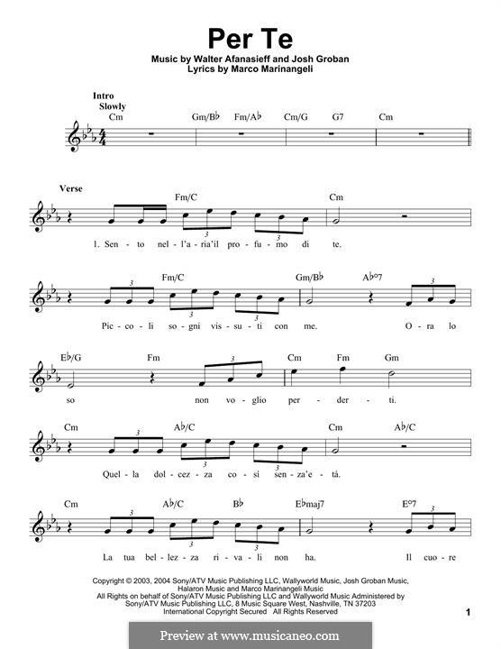 Per Te: Melody line by Josh Groban, Walter Afanasieff