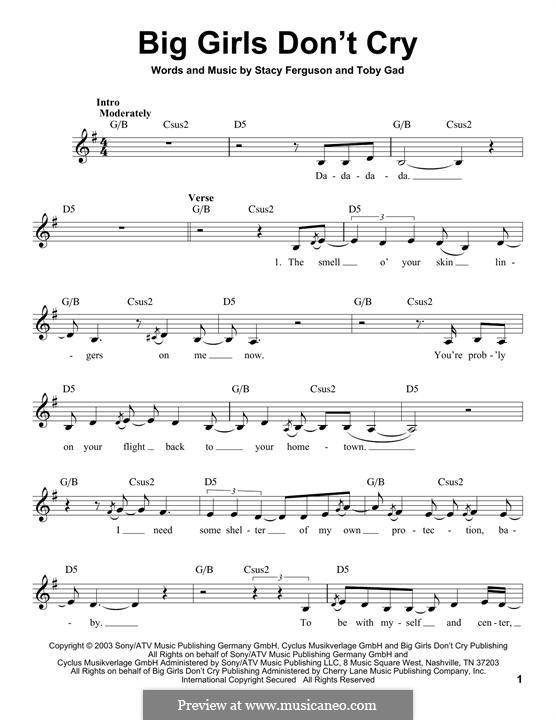 Big Girls Don't Cry (Fergie): Melody line by Stacy Ferguson, Tobias Gad