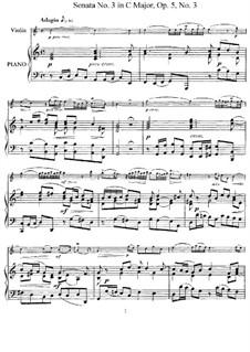 Sonata No.3: Arrangement for violin and piano – score, solo part by Arcangelo Corelli