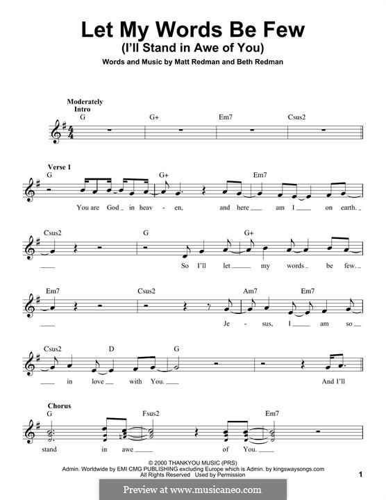Let My Words Be Few (I'll Stand in Awe of You): Melody line by Matt Redman, Beth Redman