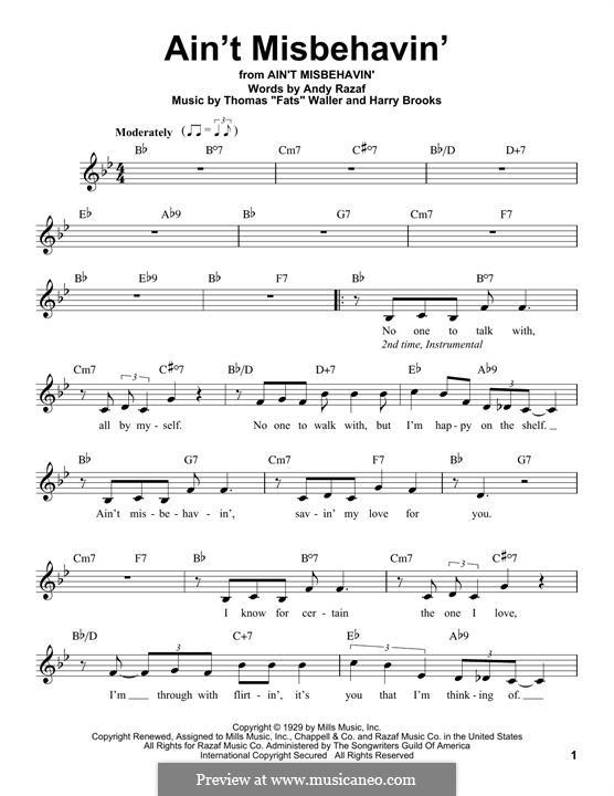 Ain't Misbehavin': Melody line by Fats Waller, Harry Brooks