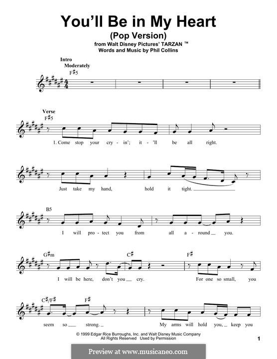 You'll Be in My Heart (from Walt Disney's Tarzan): Melody line by Phil Collins