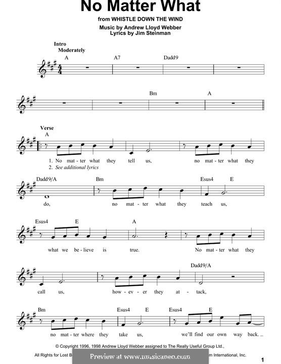 No Matter What (from Whistle Down the Wind): Melody line by Andrew Lloyd Webber