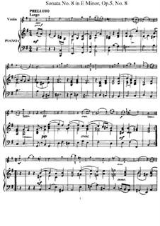 Sonata No.8: Arrangement for violin and piano – score, solo part by Arcangelo Corelli