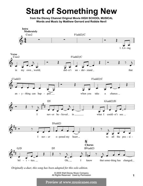 Start of Something New (from High School Musical): Melody line by Matthew Gerrard, Robbie Nevil