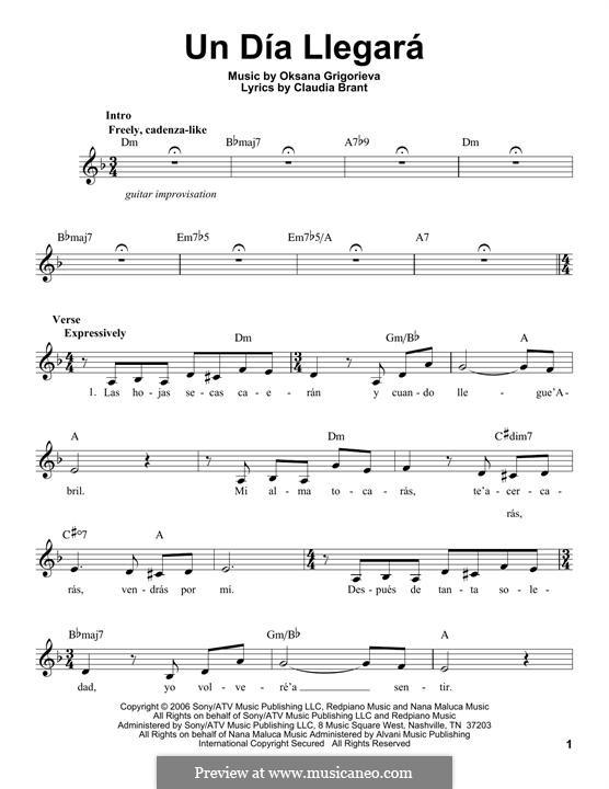 Un Dia Llegara (Josh Groban): Melody line by Claudia Brant, Oksana Grigorieva