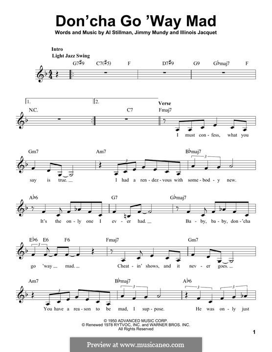 Don'cha Go 'Way Mad (Ella Fitzgerald): Melody line by Al Stillman, Jimmy Mundy, Illinois Jacquet