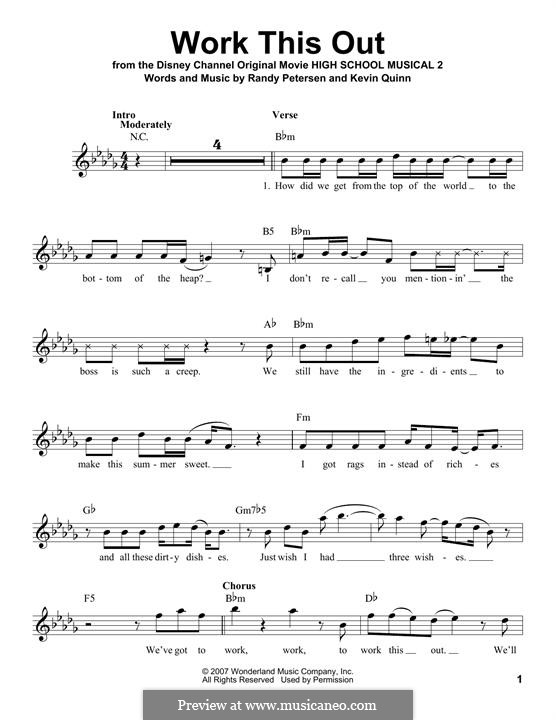 Work This Out (High School Musical 2): Melody line by Kevin Quinn, Randy Petersen