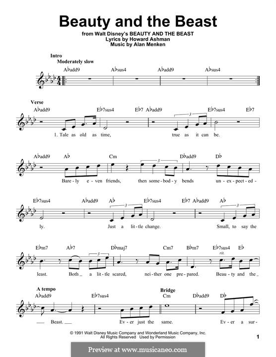 Beauty and the Beast (Celine Dion and Peabo Bryson): Melody line by Alan Menken