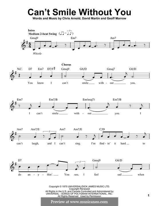 Can't Smile without You (Barry Manilow): Melody line by Chris Arnold, David Martin, Geoff Morrow