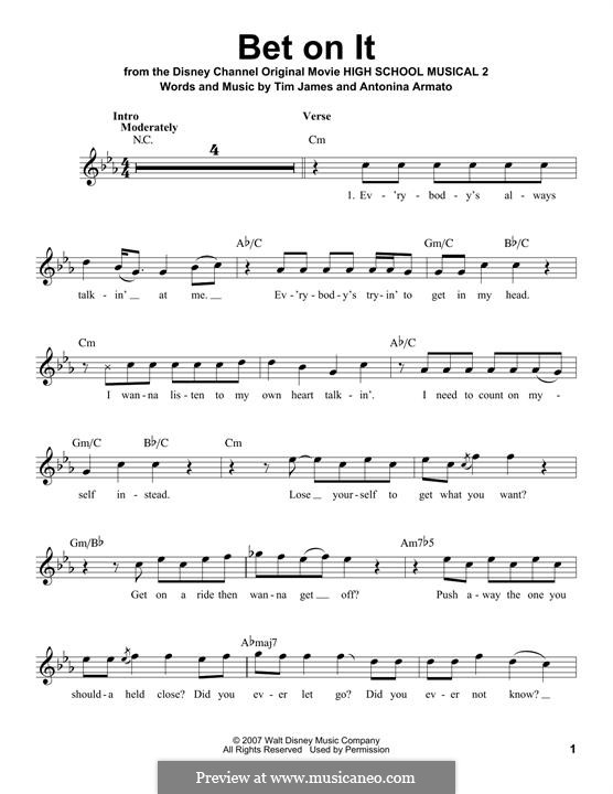 Bet on It (High School Musical 2): Melody line by Antonina Armato, Timothy James