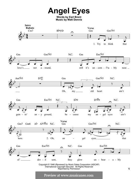 Angel Eyes (Frank Sinatra): Melody line by Matt Dennis