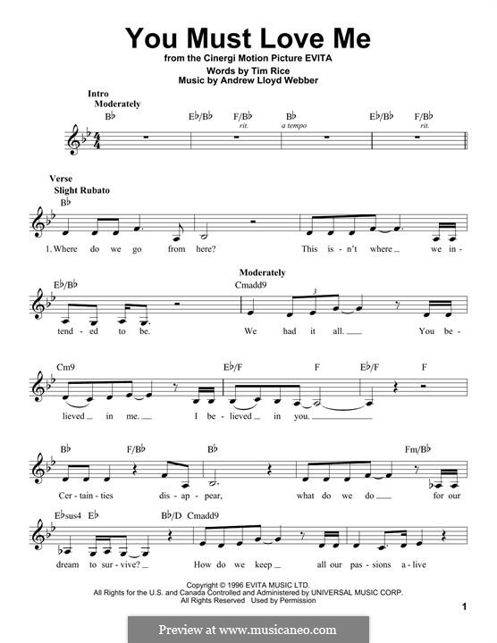 You Must Love Me: Melody line by Andrew Lloyd Webber