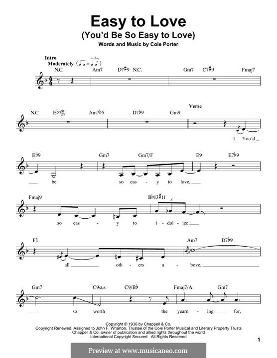 Easy to Love (You'd Be So Easy to Love): Melody line by Cole Porter