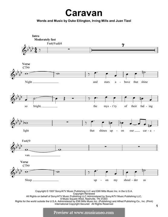 Caravan (Les Paul): Melody line by Irving Mills, Duke Ellington, Juan Tizol