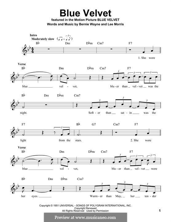 Blue Velvet: Melody line by Bernie Wayne, Lee Morris