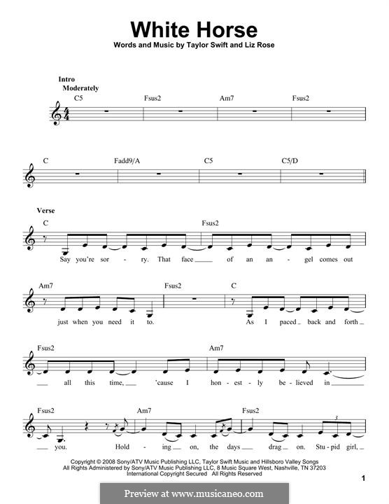 White Horse (Taylor Swift): Melody line by Liz Rose