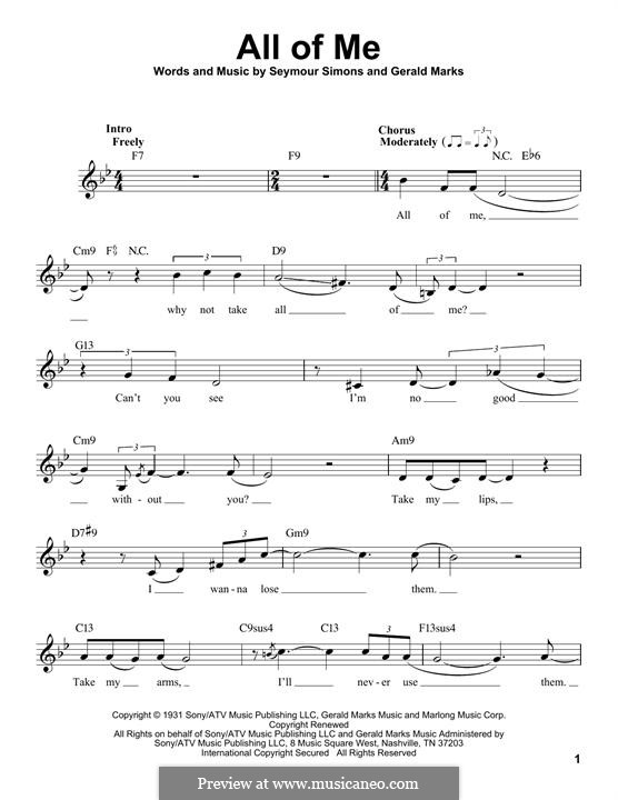All of Me: Melody line by Seymour Simons, Gerald Marks