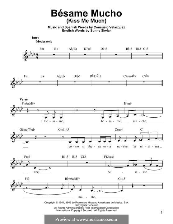 Besame Mucho (Kiss Me Much): Melody line by Consuelo Velazquez