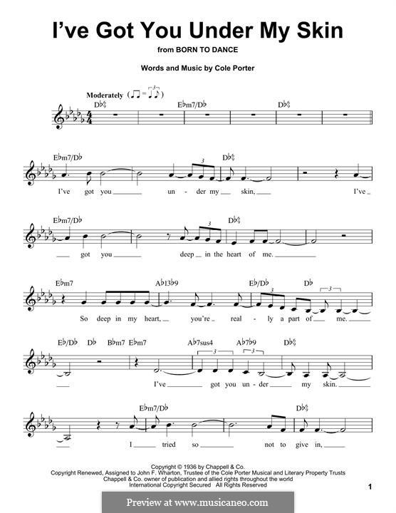 I've Got You under My Skin: Melody line by Cole Porter
