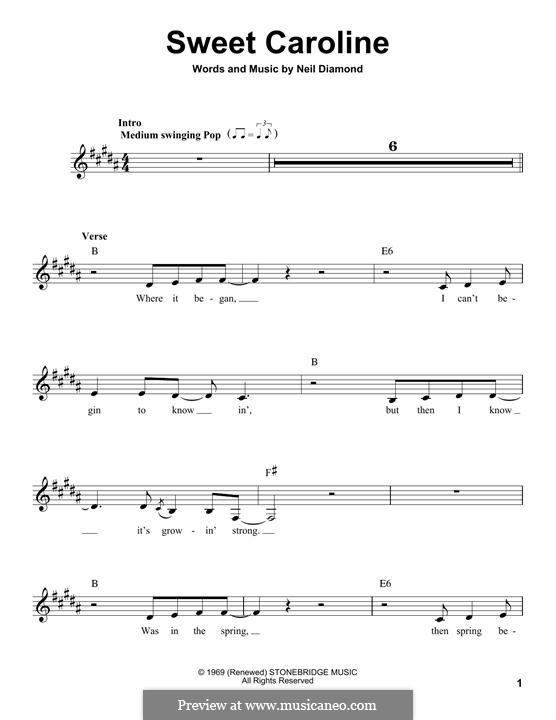 Sweet Caroline: Melody line by Neil Diamond