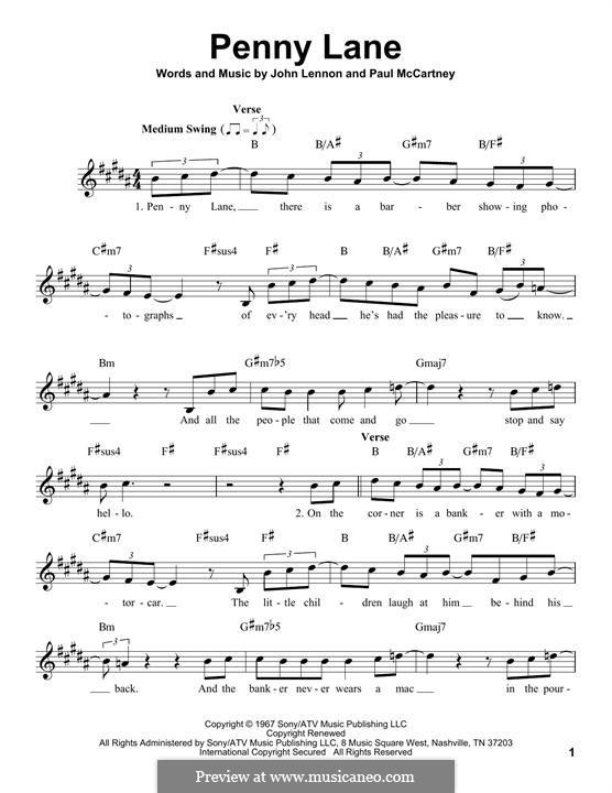 Penny Lane (The Beatles): Melody line by John Lennon, Paul McCartney