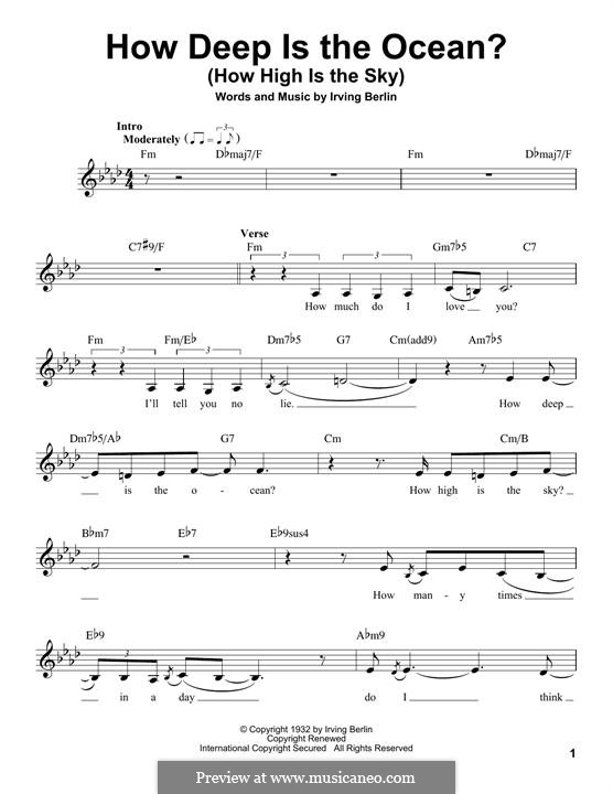 How Deep is the Ocean (How High is the Sky): Melody line by Irving Berlin