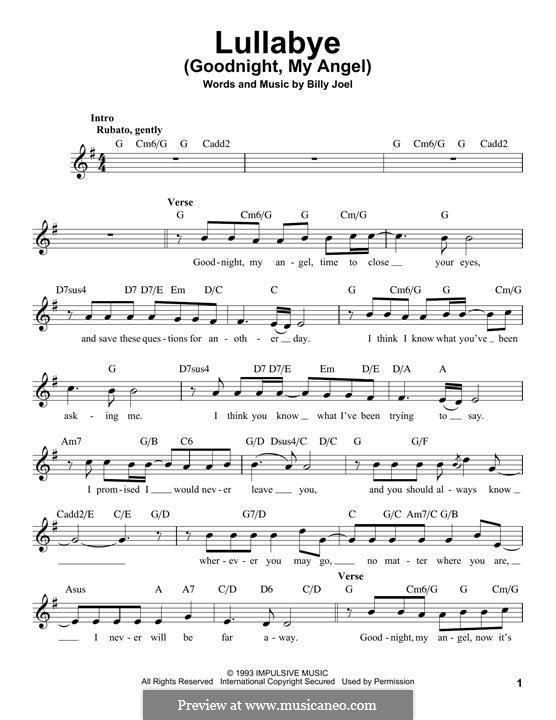 Lullabye (Goodnight, My Angel): Melody line by Billy Joel