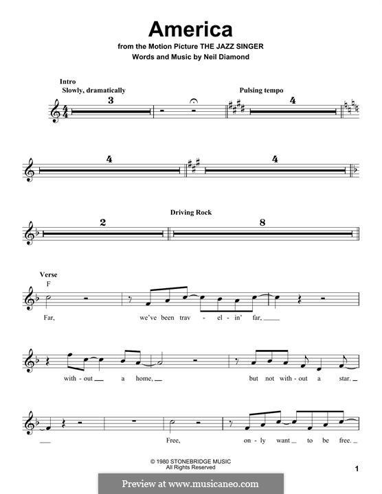 America: Melody line by Neil Diamond