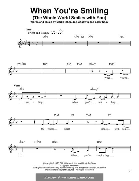When You're Smiling (The Whole World Smiles with You): Melody line by Joe Goodwin, Larry Shay, Mark Fisher
