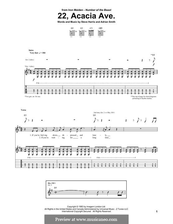 22, Acacia Ave. (Iron Maiden): For guitar with tab by Adrian Smith, Steve Harris