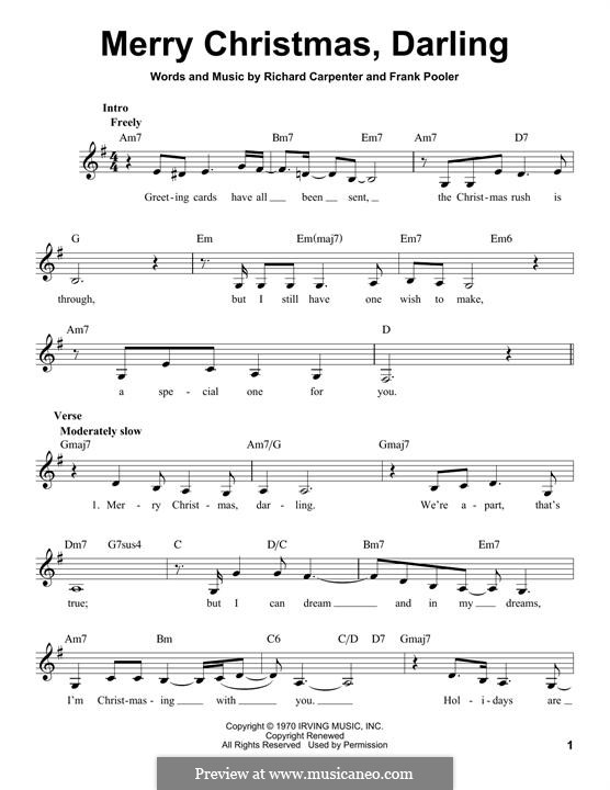 Merry Christmas, Darling (Carpenters): Melody line by Frank Pooler, Richard Carpenter