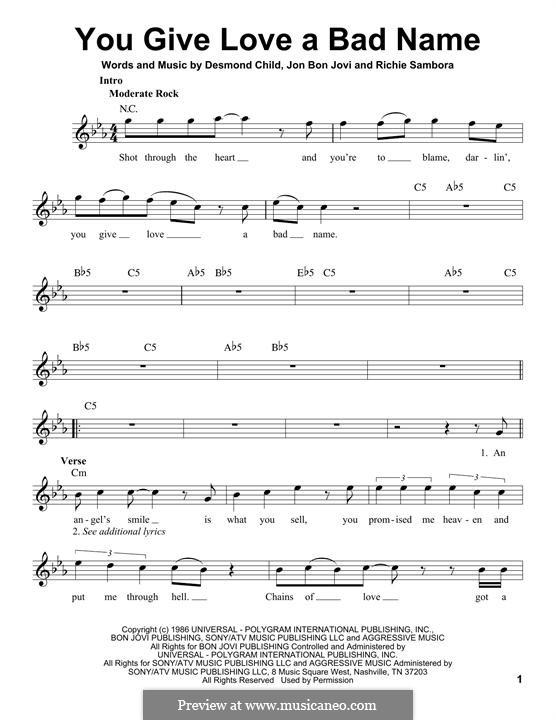 You Give Love a Bad Name (Bon Jovi): Melody line by Desmond Child, Jon Bon Jovi, Richie Sambora