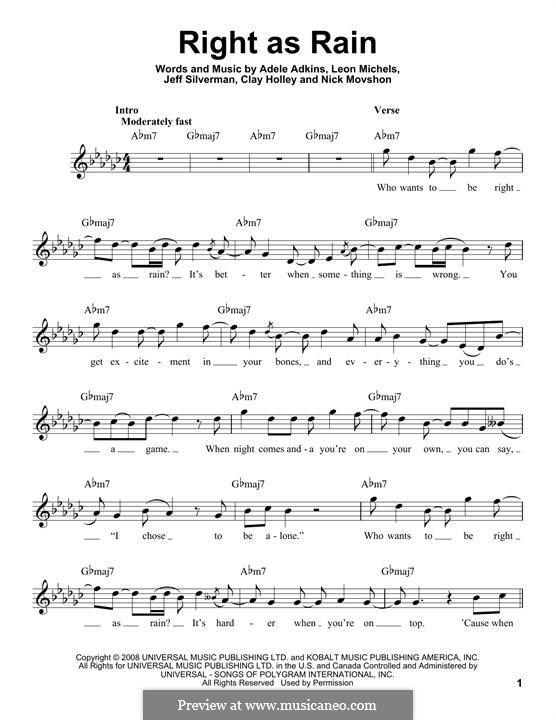 Right as Rain: Melody line by Adele, Jeffrey Silverman, Leon Michels