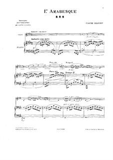 Arabesque No.1: For violin and piano – score, solo part by Claude Debussy
