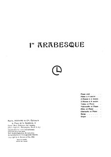 Two Arabesque, L.66: Arabesque No.1, for piano four hands by Claude Debussy